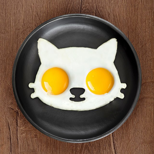 make cat-shaped fried eggs with this cute egg mold