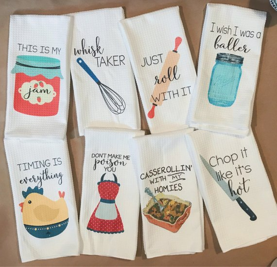 these fun foodie tea towels make the perfect stocking stuffer