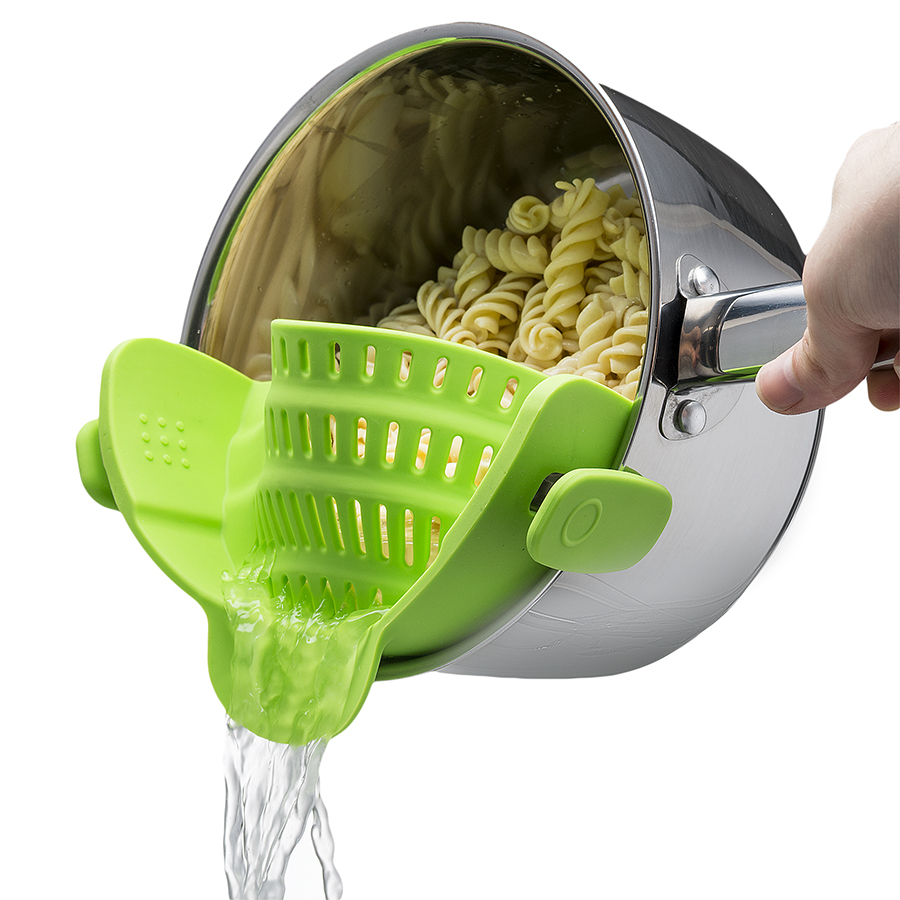 this clip-on strainer is a nifty tool for your favorite chef